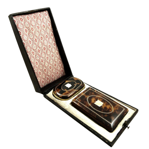 Antique French Tortoiseshell with Gold Pique Coin Purse & Aide Memoire in Case c1850