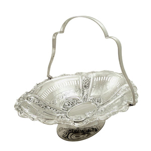 Antique Edwardian Sterling Silver 11″ Basket 1905