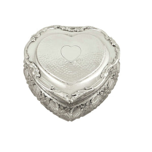 Antique Edwardian Sterling Silver & Cut Glass Heart Shape Trinket Box 1906
