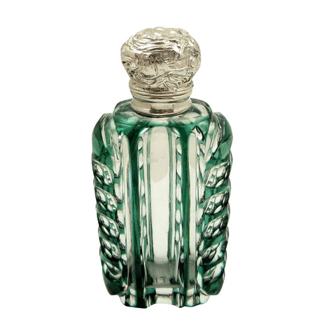 Antique Silver & Green Overlay Cut Glass Perfume / Scent Bottle c1890