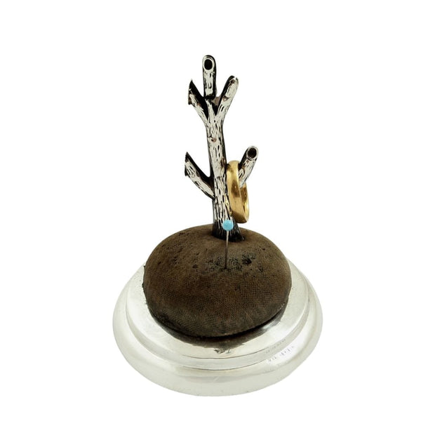 Antique Sterling Silver Ring Tree / Pin Cushion Stand 1912