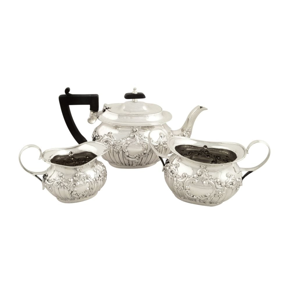 Antique Sterling Silver 3 Piece Bachelor Teaset 1915
