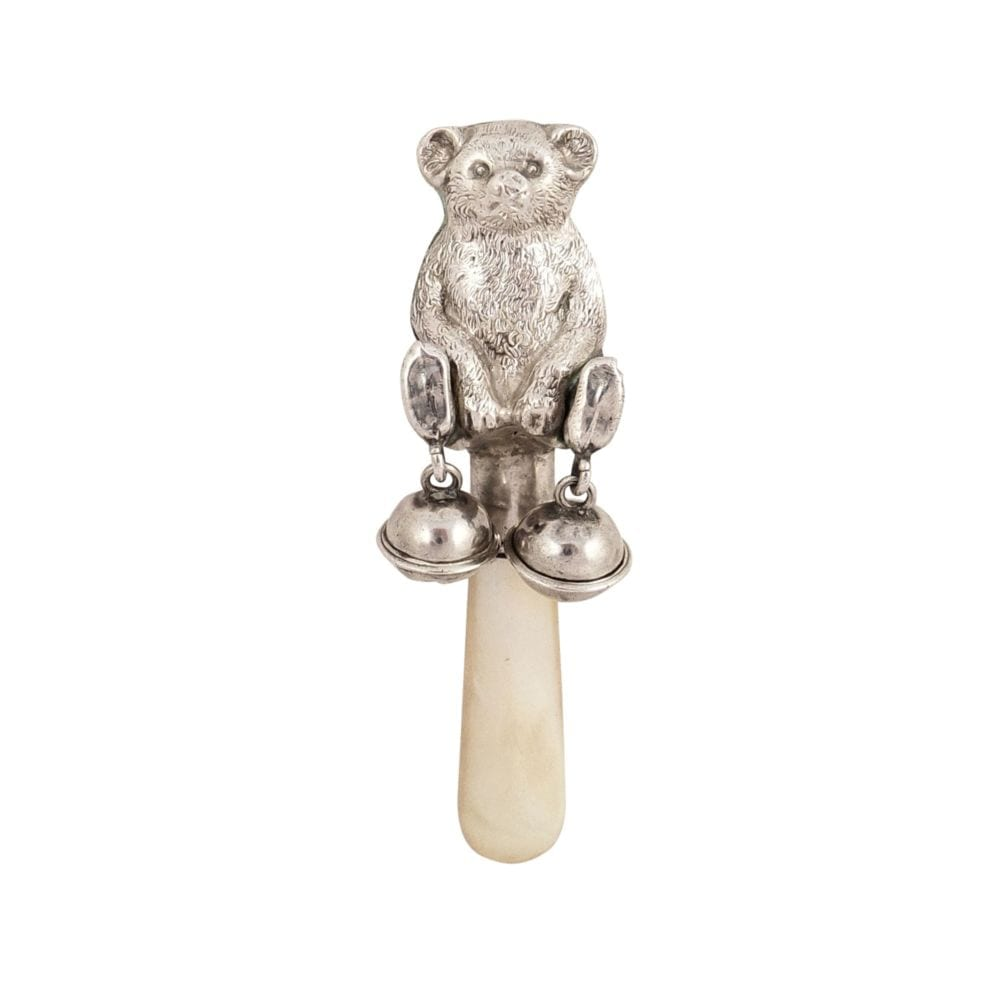 Antique Sterling Silver Teddy Bear Baby Rattle 1921