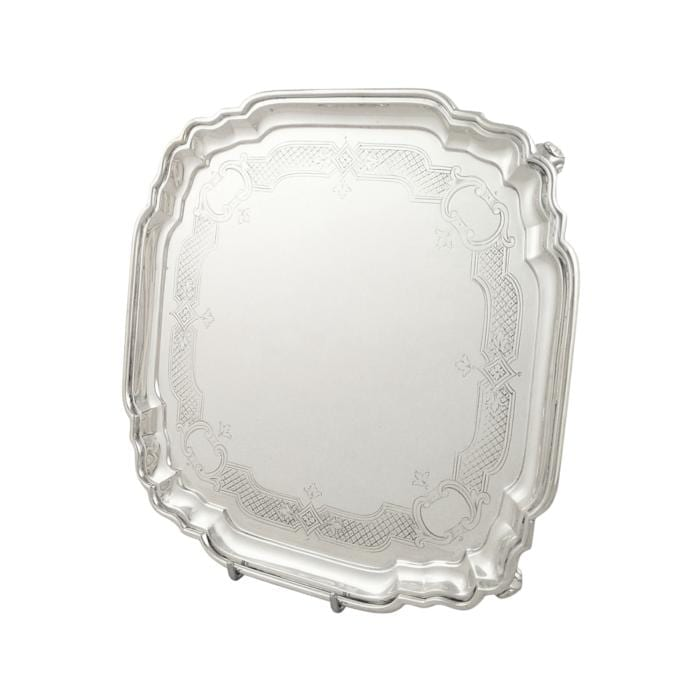 Antique Sterling Silver Square Tray / Salver 1924