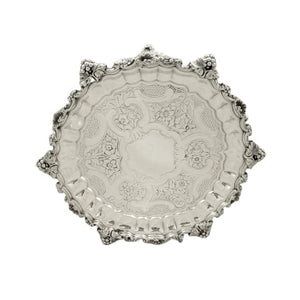 Antique Georgian Scottish Sterling Silver 8″ Tray / Waiter 1827