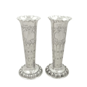 Pair of Antique Edwardian Sterling Silver 8″ Vases 1907