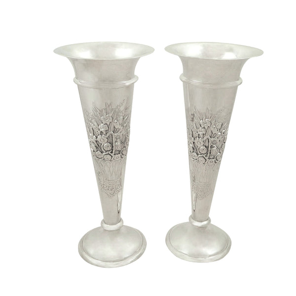 Pair of Antique Edwardian Sterling Silver 7″ Vases 1908