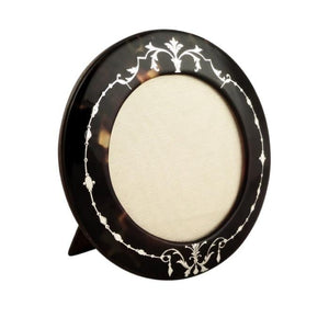Antique Tortoiseshell Photo Frame with Inlaid Silver Pique c1900