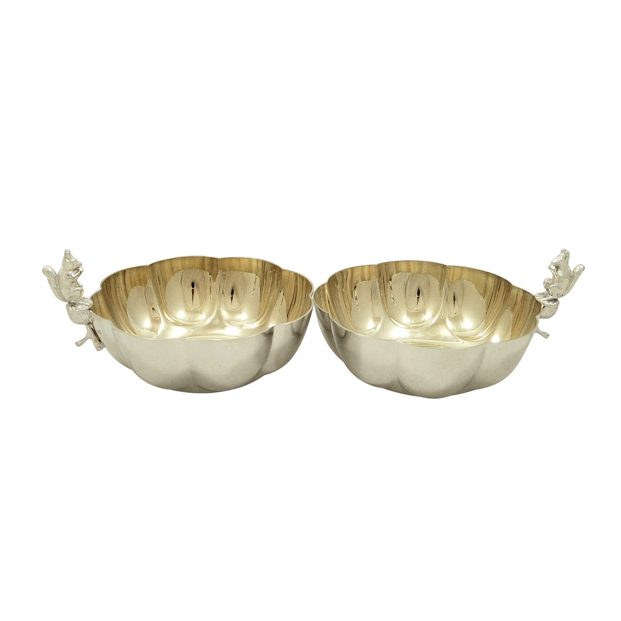 Pair of Antique Silver Plated Squirrel Nut Dishes / Bowls c1900