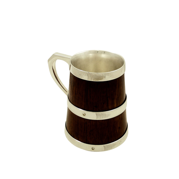 Antique Victorian Silver Plated & Oak Tankard - c1880