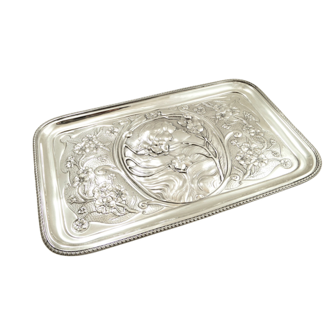 Antique Art Nouveau Sterling Silver Dressing Tray 1906