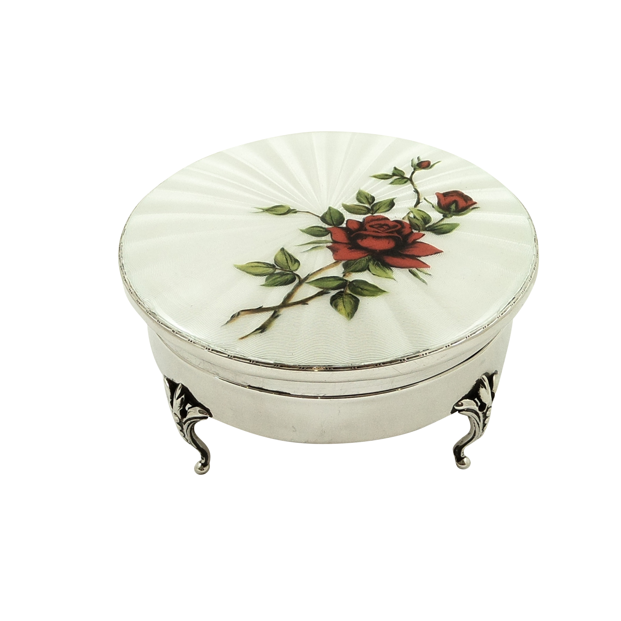 Antique Sterling Silver & Guilloche Enamel 'Rose' Trinket Box 1921