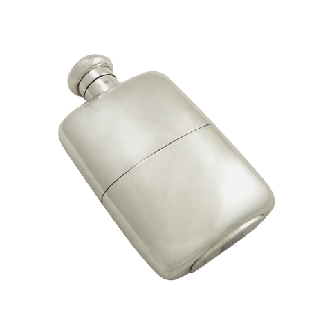 "Antique Sterling Silver 5"" Hip Flask with Cup 1924"