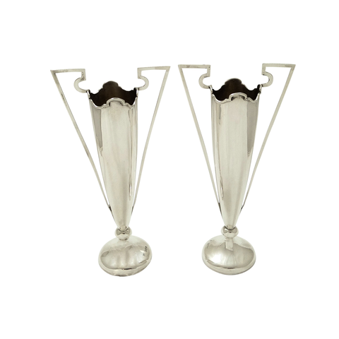 Pair of Antique Sterling Silver Vases 1908