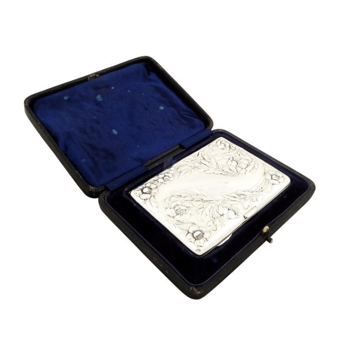 Antique Edwardian Sterling Silver Card Case/Aide Memoire in Case 1902