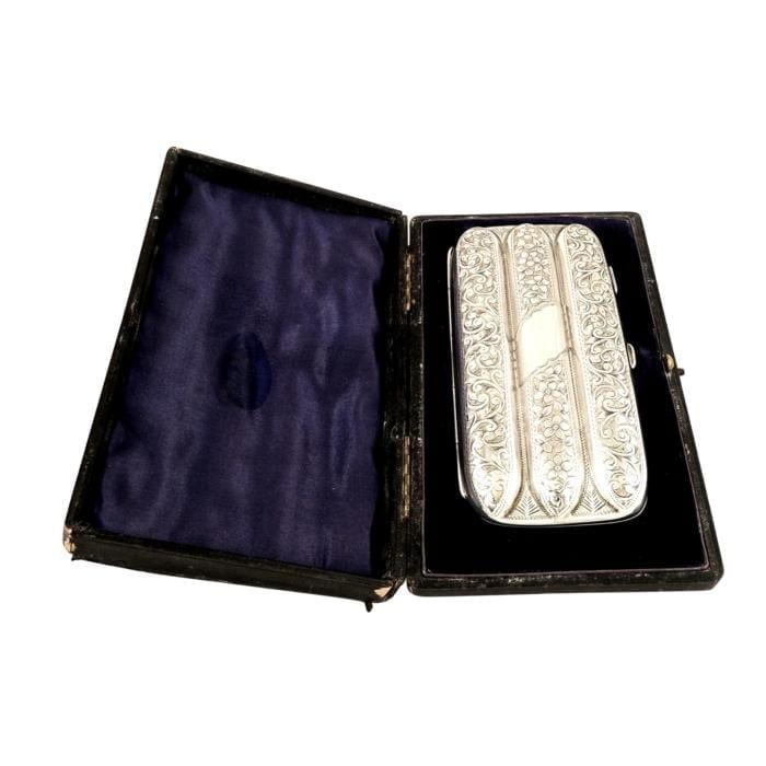 Antique Sterling Silver 3 Section Cigar Case 1901