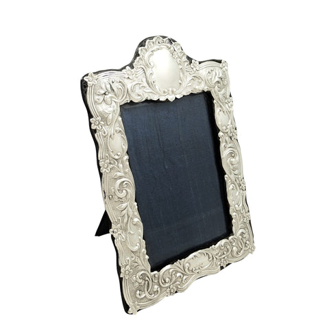 Antique Edwardian Sterling Silver 8″ Photo Frame 1901