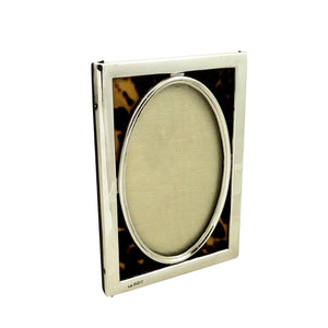 Antique Edwardian Sterling Silver & Tortoiseshell 6 1/2″ Photo Frame 1905