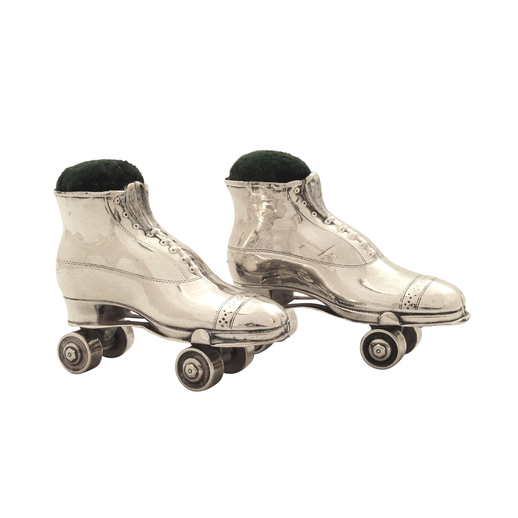 Pair of Antique Edwardian Sterling Silver Roller Skate Pin Cushions 1910