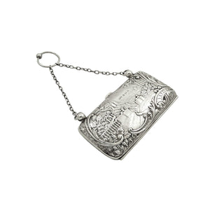 Antique Edwardian Sterling Silver Purse with Scenes 1905
