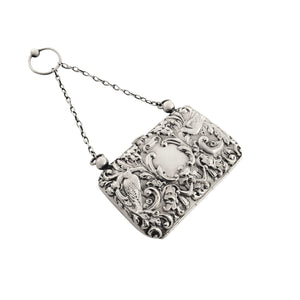 Antique Edwardian Sterling Silver 'Birds' Purse 1905