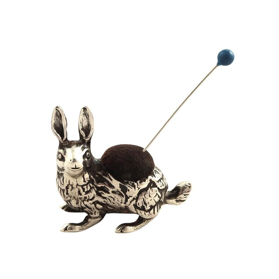 Antique Edwardian Sterling Silver Rabbit / Hare Pin Cushion 1908