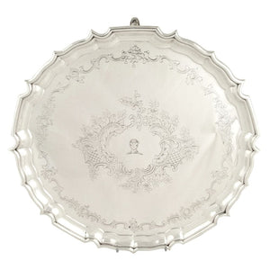 Antique Edwardian Sterling Silver 14″ Tray / Salver 1910