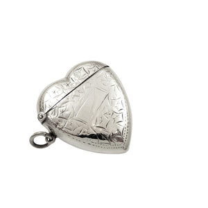 Antique Edwardian Sterling Silver Heart Shape Vesta Case 1906