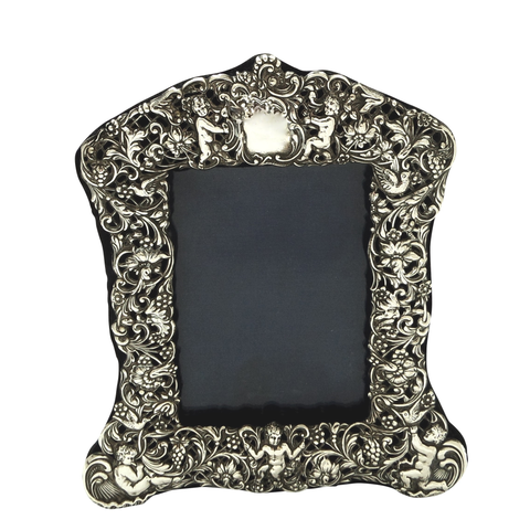 "Antique Edwardian Sterling Silver 8"" 'Cherubs' Photo Frame 1903"