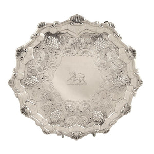 Antique George III Sterling Silver Waiter / Tray 1768