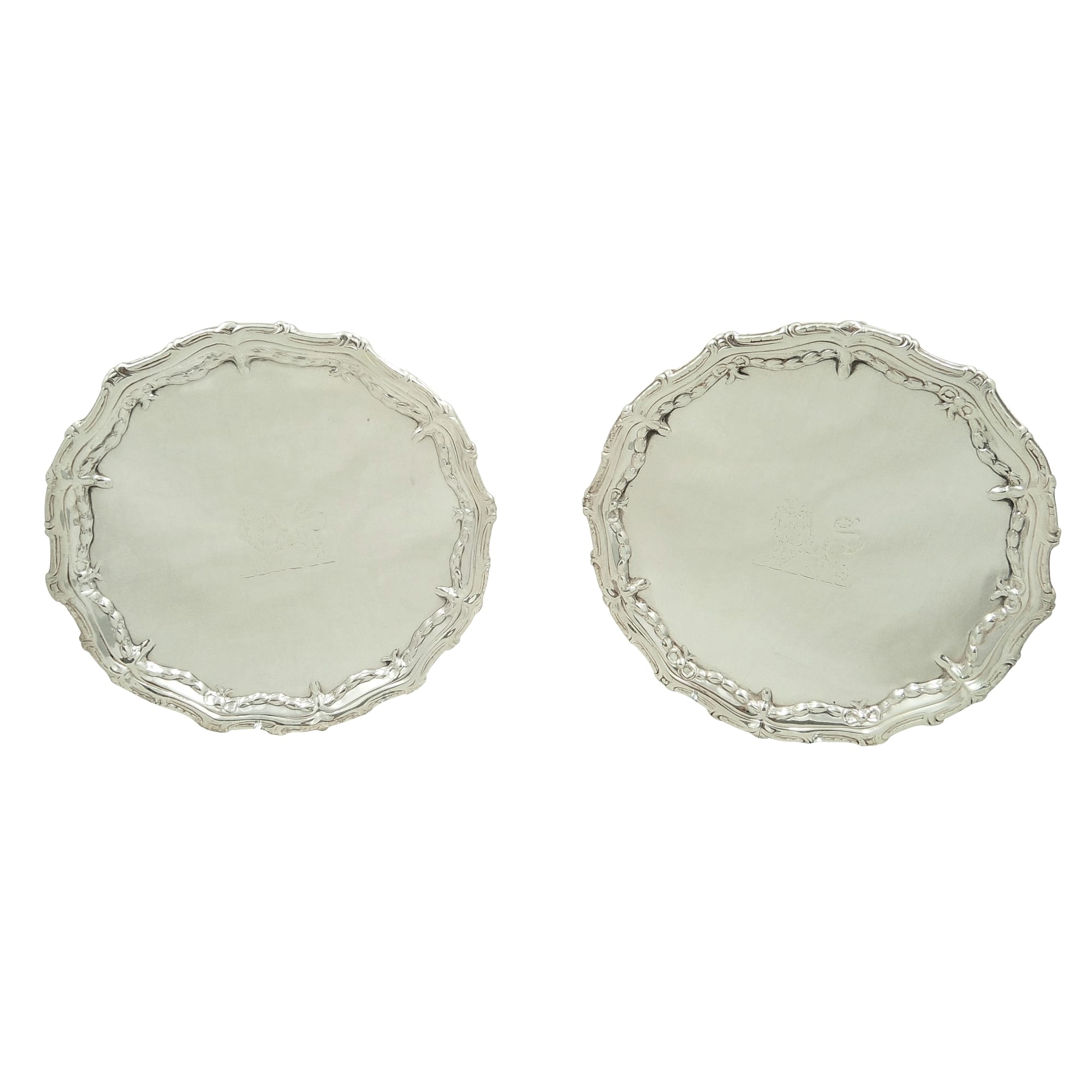 Pair of Antique Georgian Sterling Silver Card Trays 1773