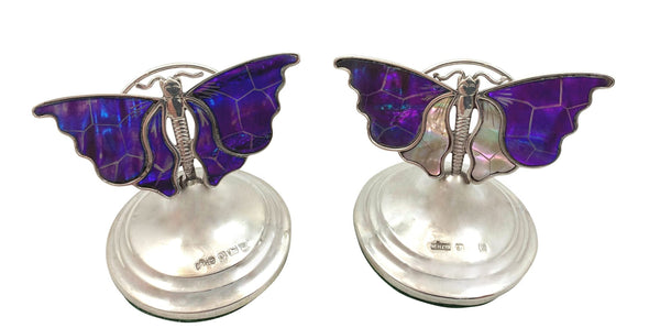 Pair of Unusual Antique Sterling Silver & Mother of Pearl Butterfly Menu Holders 1911