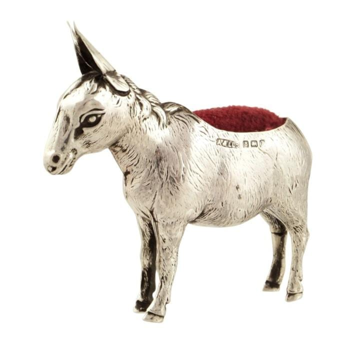 Antique Sterling Silver Donkey Pin Cushion – 1910