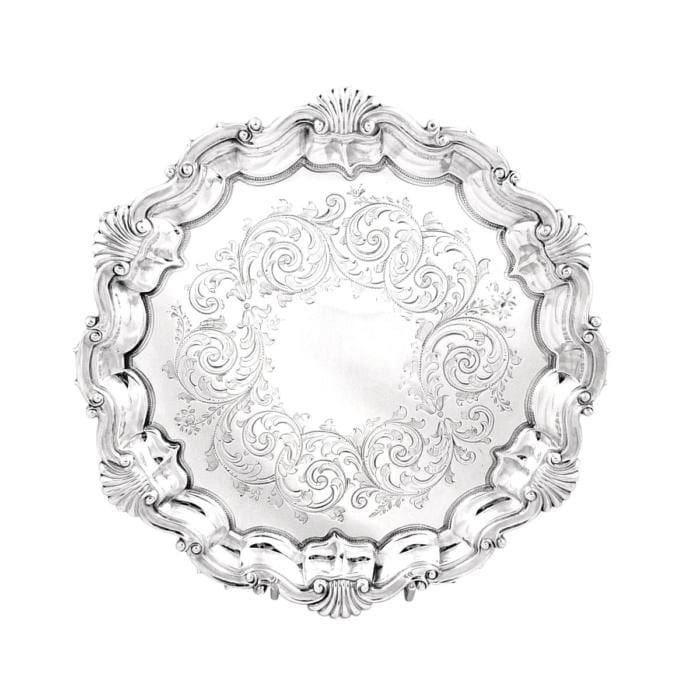 Antique Victorian Sterling Silver Tray / Salver – 1880