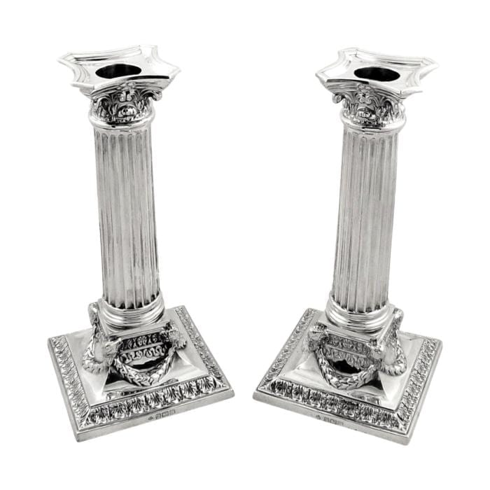 Pair of Antique Edwardian Sterling Silver 8″ Candlesticks – 1904