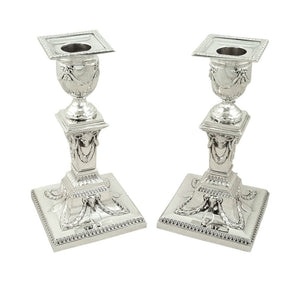 Pair of Antique Victorian Sterling Silver Candlesticks with Rams Heads 1899