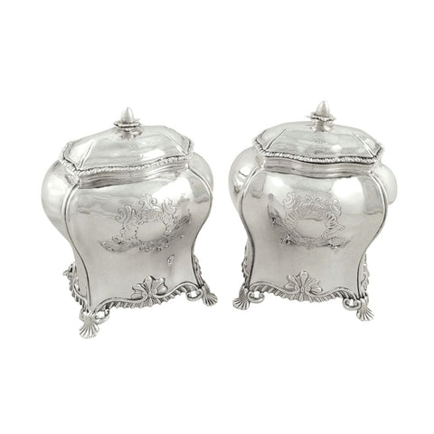 Pair of Antique Georgian Sterling Silver Caddies 1759