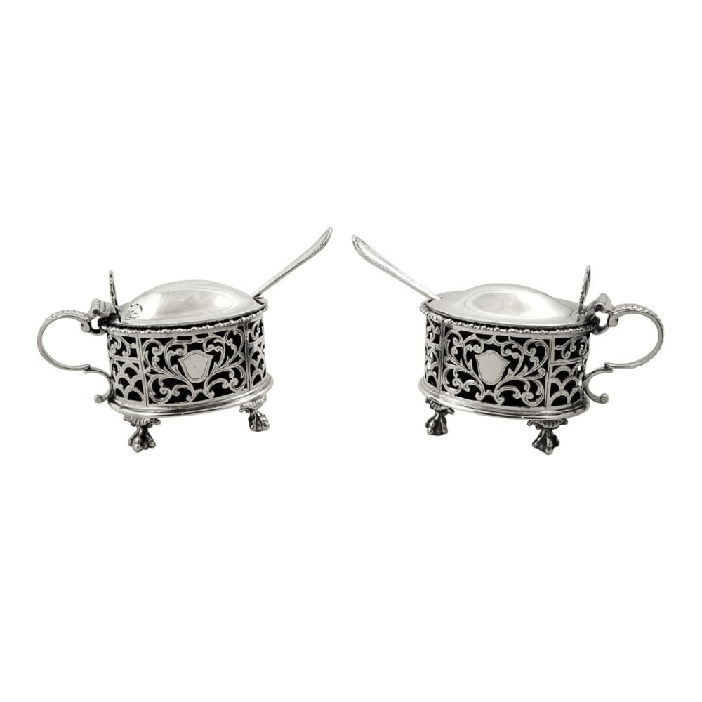 Pair of Antique Sterling Silver Mustard Pots 1919 / 1920