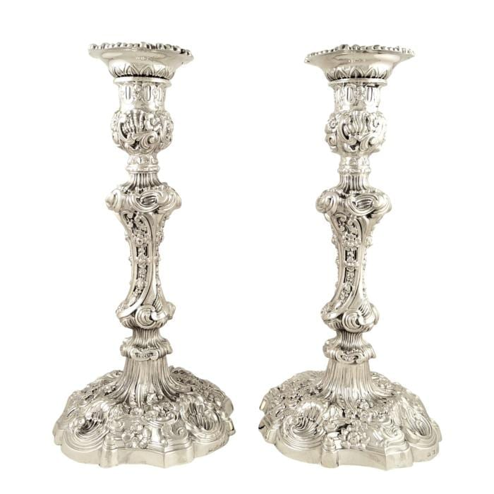Pair of Antique Georgian Sterling Silver 11″ Candlesticks 1825