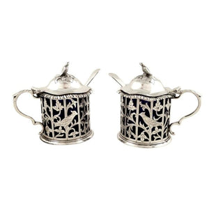 Pair of Antique Sterling Silver Mustard Pots with Bird Decoration 1911
