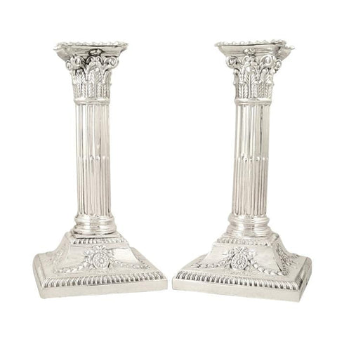 Pair of Antique Edwardian Sterling Silver Candlesticks 1908