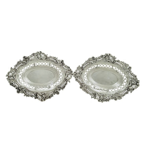 Pair of Antique Victorian Sterling Silver 8″ Dishes 1896