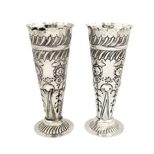 Pair of Antique Victorian Sterling Silver 5 1/4″ Vases 1897