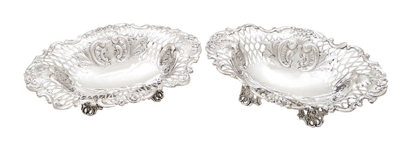 "Pair of Antique Victorian Sterling Silver 7 1/2"" Dishes 1892 / 1983"
