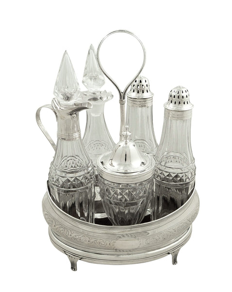 Antique Georgian Sterling Silver & Hand Cut Crystal Cruet Set 1802