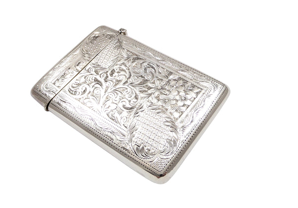 Antique Edwardian Sterling Silver Card Case 1907