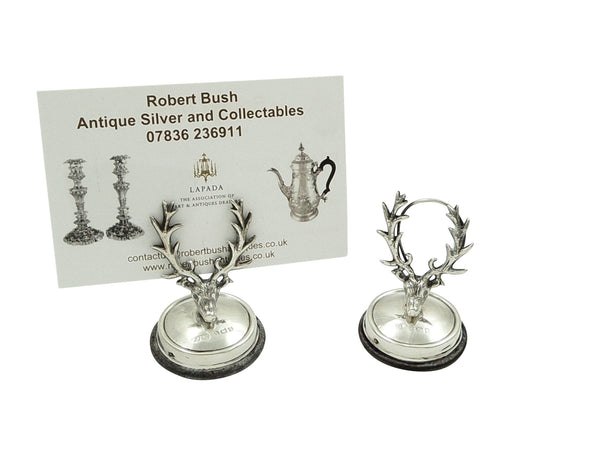 Antique Edwardian Sterling Silver Stag Head Menu Holders 1907