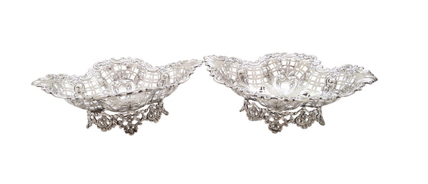 Pair of Antique Edwardian Sterling Silver Dishes 1902