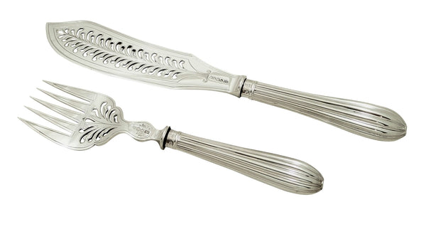 Pair of Antique Victorian Sterling Silver Fish Servers in Case 1863
