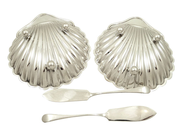 Pair of Antique Sterling Silver Shell Butter Dishes in Case 1919